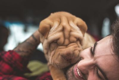 Smiling Man wearing a red plaid shirt lies on a bed holding a sweet puppy to his fies