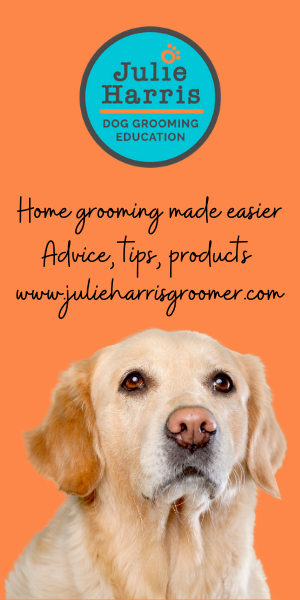 Orange background with white labrador and  blue logo Julie Harris Grooming Education