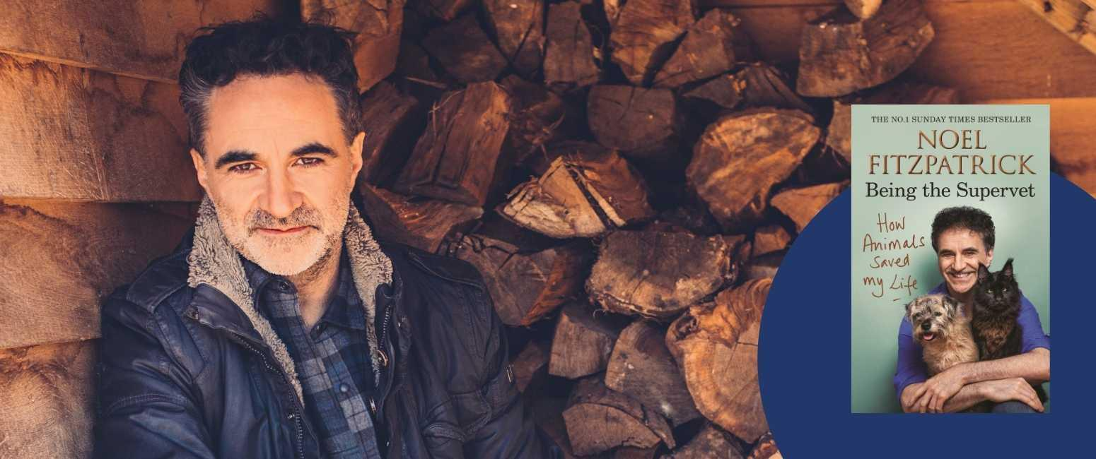 "Noel Fitzpatrick pictured in front of a woodstack with an insert of his book ""How Animals Saved My Life - Being The SuperVet"""